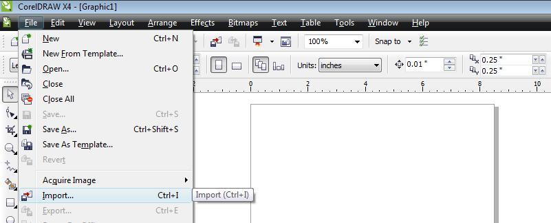 Select menu to import a file.