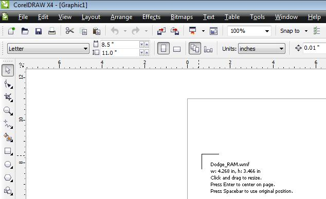 Place the graphic on the Corel workspace.