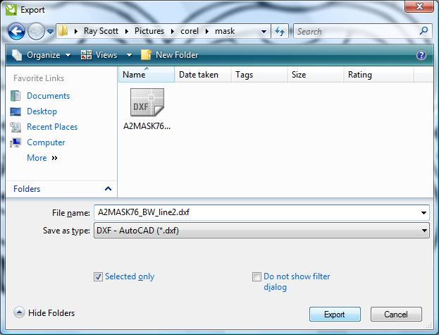 Select the file DXF type, location, and name.
