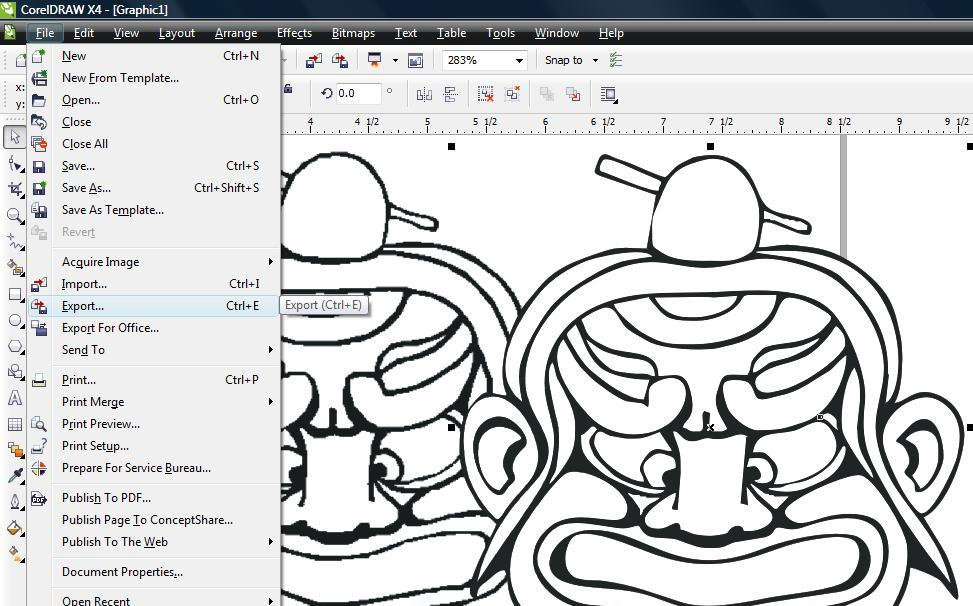 Select the menu Item to export the newly made vector image.