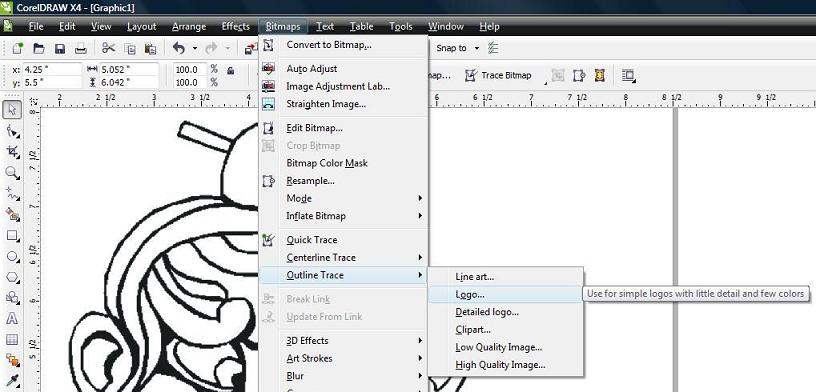 Select the menu item to Trace the image to a vector drawing.