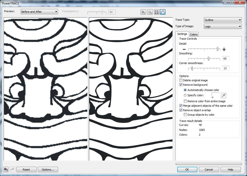 Select the proper settings in the PowerTrace window to get the best line shaping for your image.