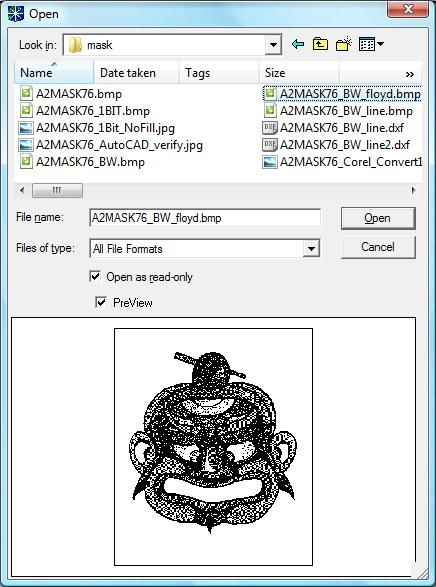 Select the Black and White BMP file to import.